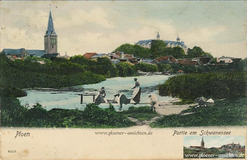Colorierte Partie am Schwanensee