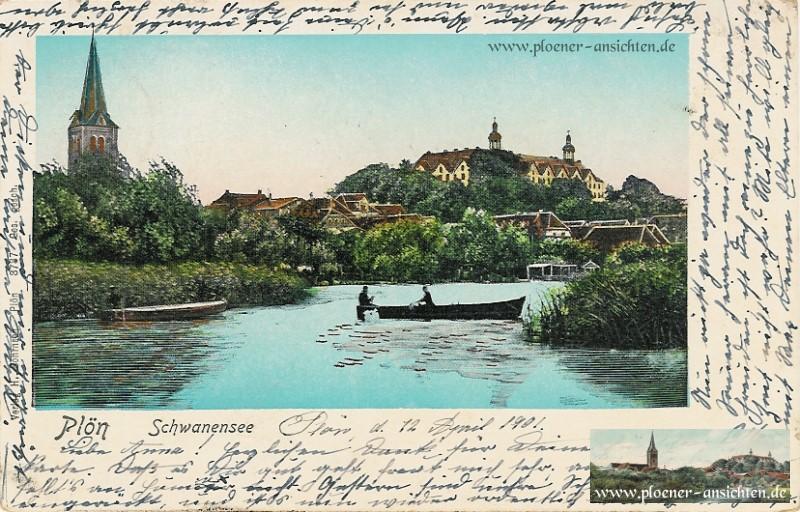 Colorierte Ansicht Schwanensee mit Ruderboot