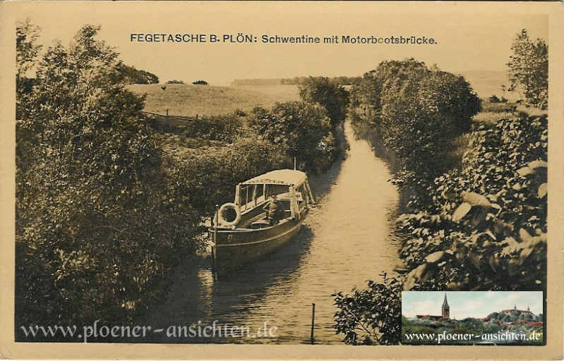 Fegetasche b. Plön - Schwentine mit Motorbootsbrücke