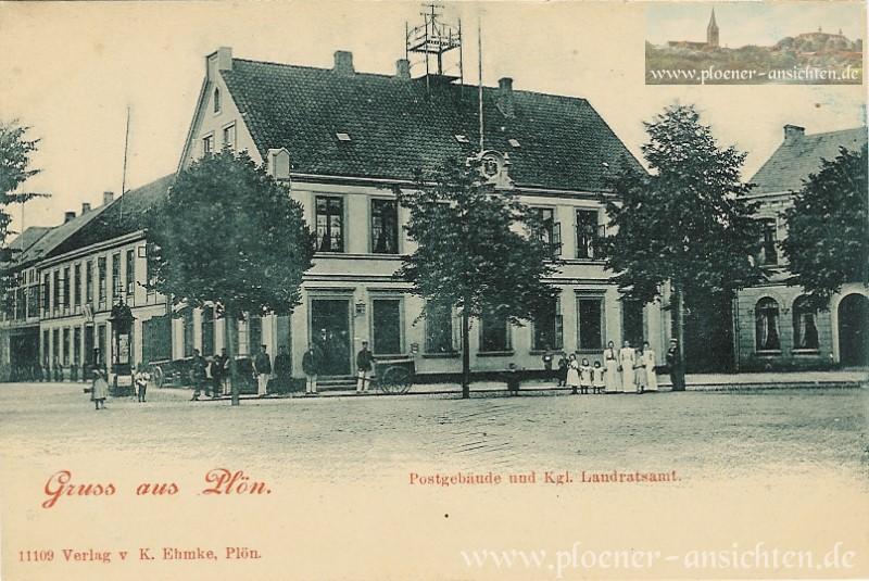 Gruß aus Plön - Postgebäude und Kgl. Landratsamt
