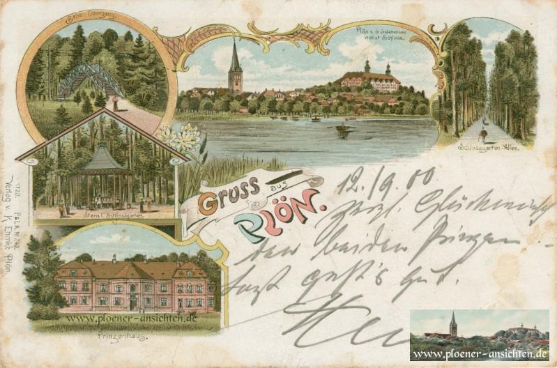 Jugendstil Gruss aus Plön 1900
