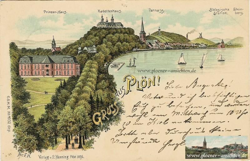 Gruss aus Plön - Mehrmotivansicht von 1896