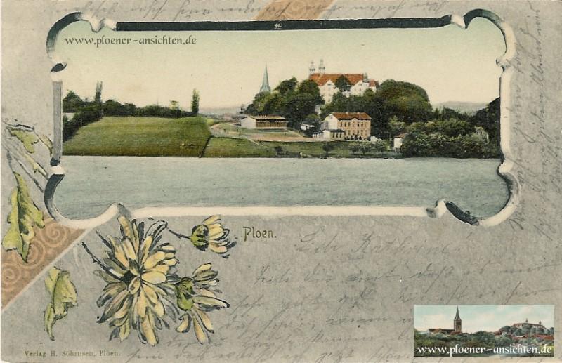 Plön-Ansicht im Blütenrahmen (Jugendstil)