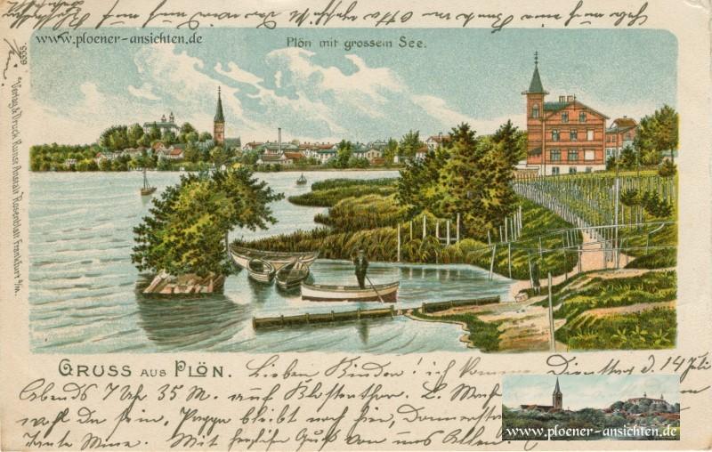 Jugendstil-Ansicht Plön mit großem See