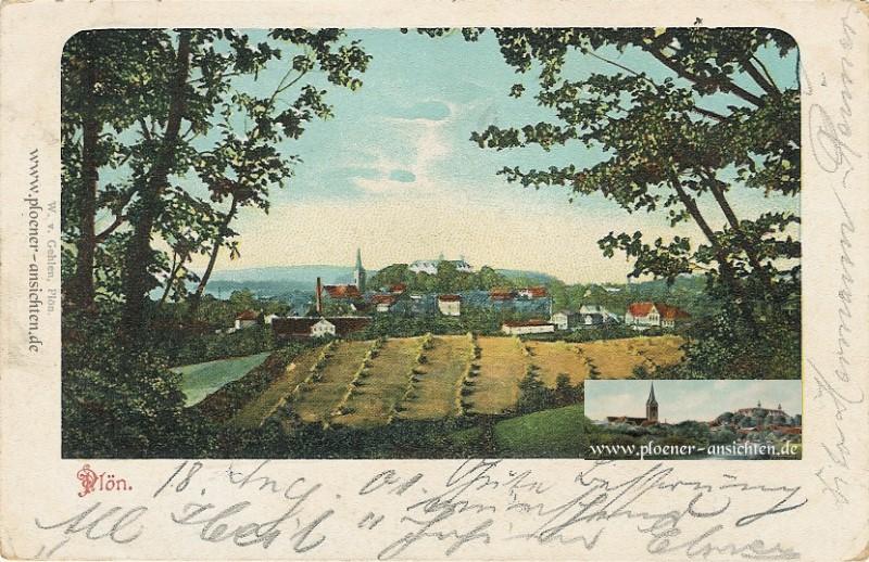 Plöner Stadtansicht vom 18.08.1901 - nachcoloriert