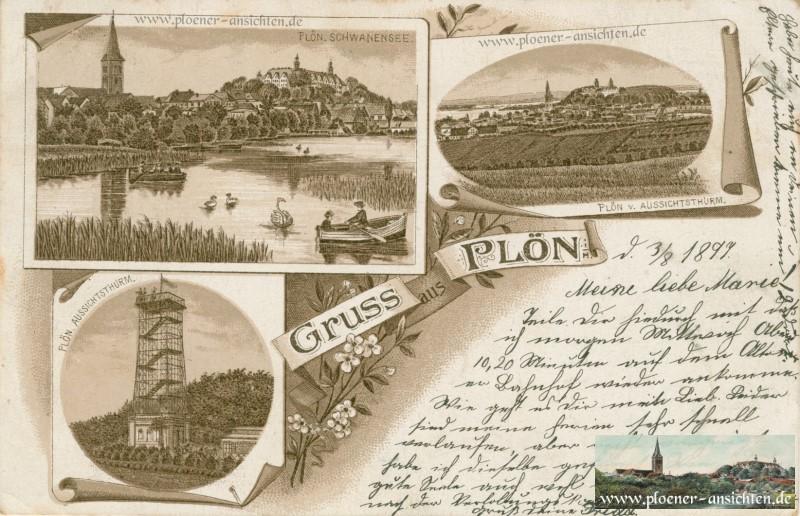 Gruss aus Plön im Jugendstil 1899