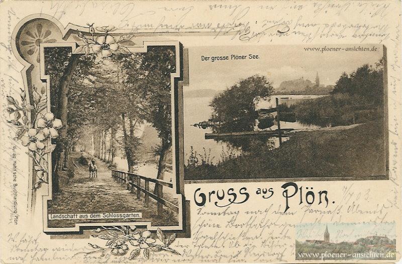Jugendstil-Karte aus Plön - Schlossgarten und Stadtansicht