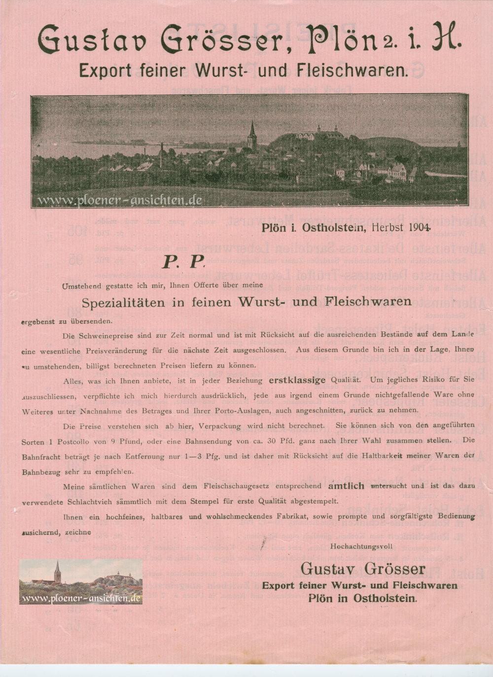 Gustav Grösser - Export feiner Wurst- und Fleischwaren