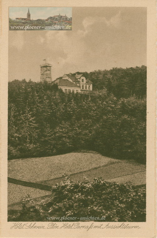 Plön - Hotel Parnaß mit Aussichtsturm - Kupfertiefdruckkarte