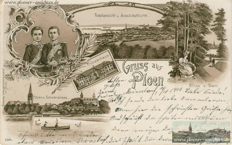 Gruß aus Plön: Jugendstilkarte mit dem Prinzenpaar von 1891