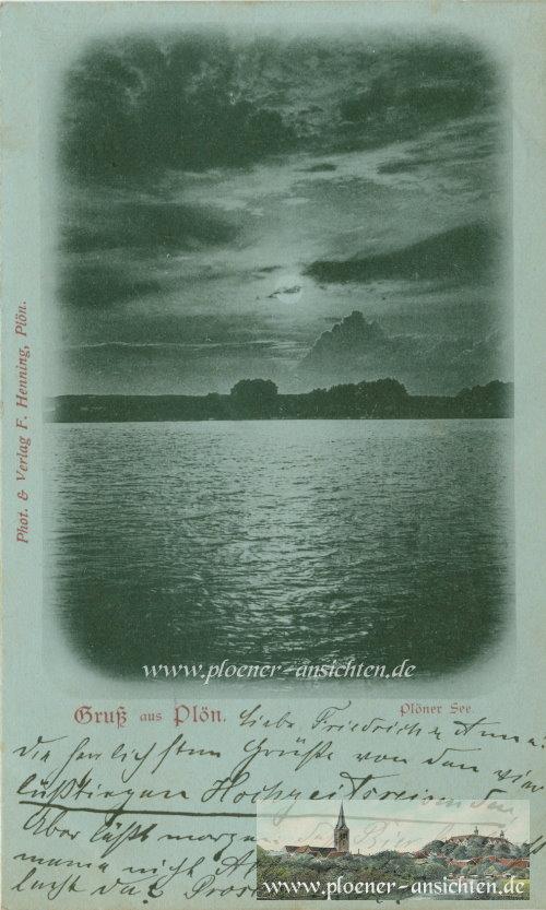 Gruß aus Plön - Mondscheinkarte - 1900