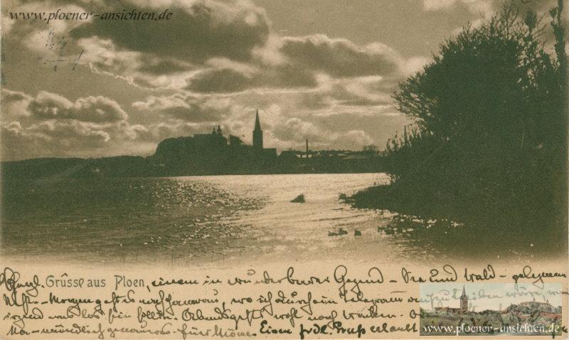 Gruß aus Plön - Mondscheinkarte - 1904