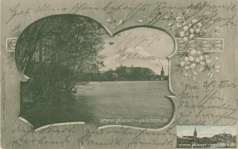 Jugendstilkarte von Plön im geblümten Schmuckrahmen - 1901