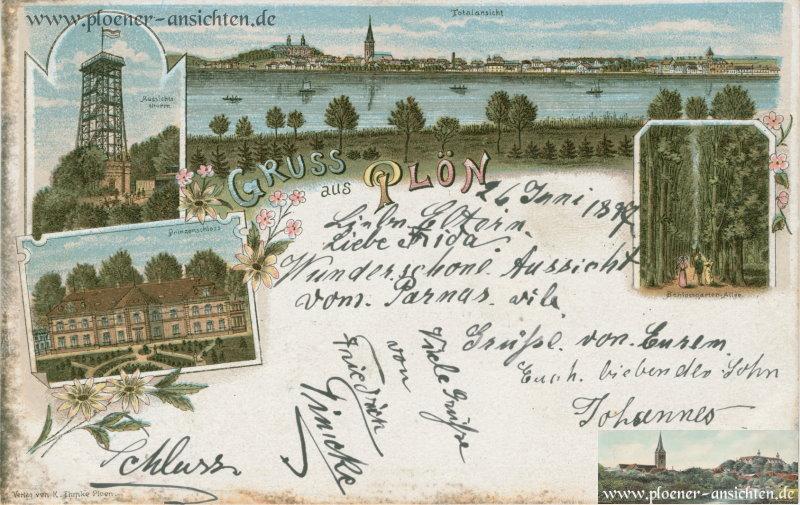 Gruß aus Plön - Jugendstil - 1897