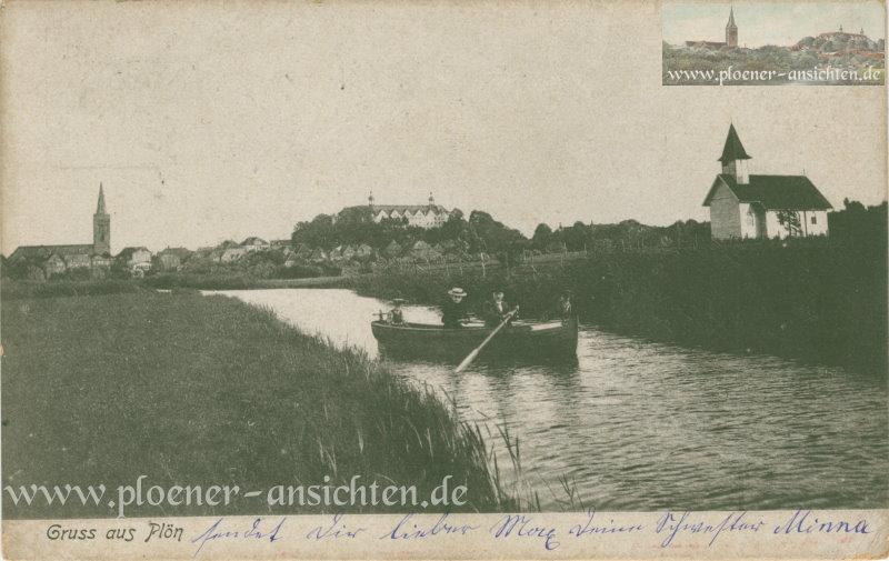 Gruss aus Plön - Ruderboot auf Schwentine - 1907