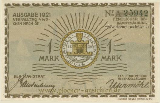 Gutschein der Stadt Plön 1921 - 1 Mark - Rücken