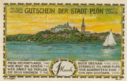Gutschein der Stadt Plön 1921 - 1 Mark - Vorne