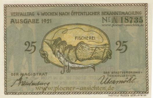 Gutschein der Stadt Plön 1921 - 25 Pfennig - Rücken