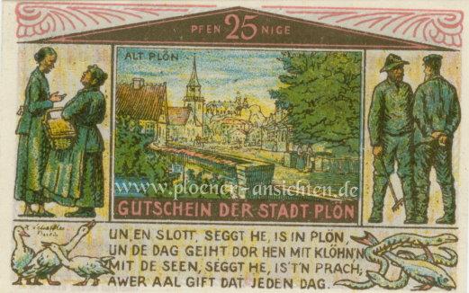 Gutschein der Stadt Plön 1921 - 25 Pfennig - Vorne