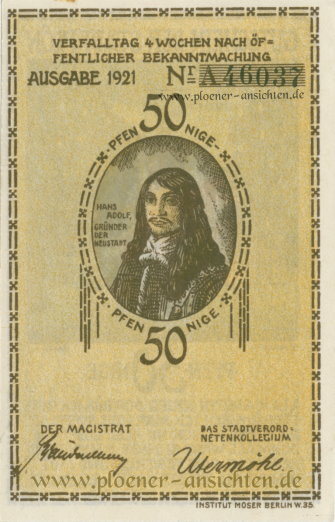 Gutschein der Stadt Plön 1921 - 50 Pfennig - Rücken