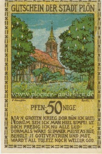 Gutschein der Stadt Plön 1921 - 50 Pfennig - Vorne