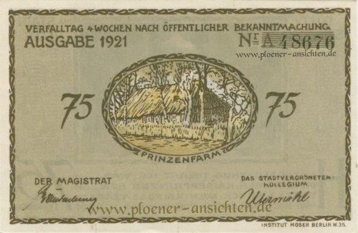 Gutschein der Stadt Plön 1921 - 75 Pfennig - Rücken