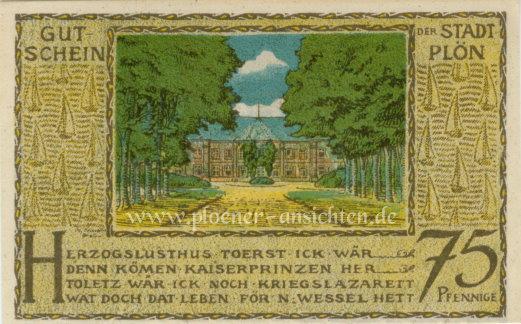 Gutschein der Stadt Plön 1921 - 75 Pfennig - Vorne