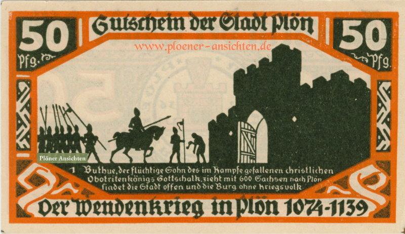 Gutschein der Stadt Plön - 50 Pfennig - Wendenkrieg (orange)