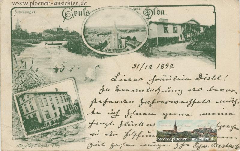 Gruß aus Plön mit Schwanensee und Johanniter-Hospital - 1897